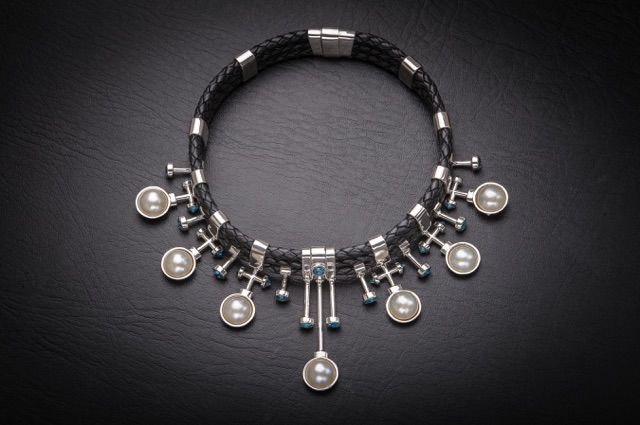 Leslie Herbert's Fitzpatrick collar of black braided leather with mabe pearls and blue topaz set in sterling silver.