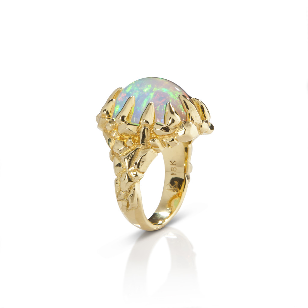 Lisa Kim Aurora Borealis ring with Ethiopian opal