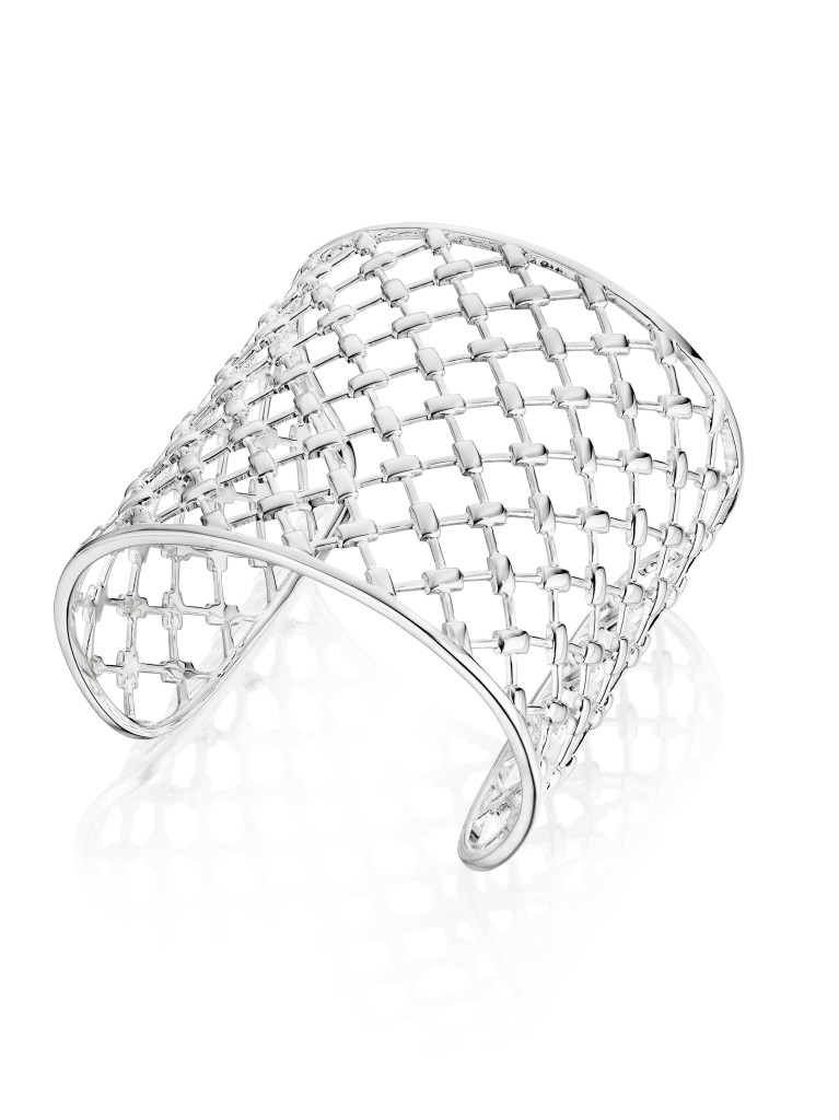 Thistle & Bee's bold sterling silver Veneta cuff with a crosshatched design.