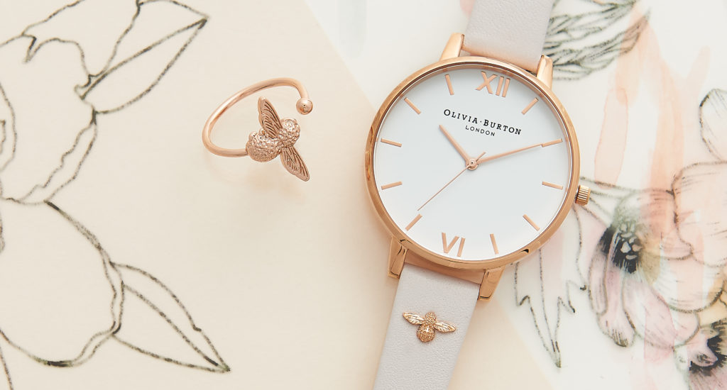 Three-dimensional embellished watch strap with bee motif on this Olivia Burton watch.