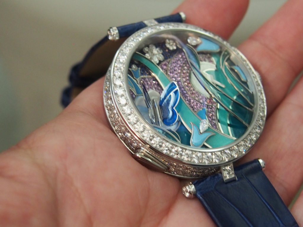The butterfly on this automaton Van Cleef & Arpels Lady Arpels Papillion Watch flutters its wings as many as 100 times in an hour.