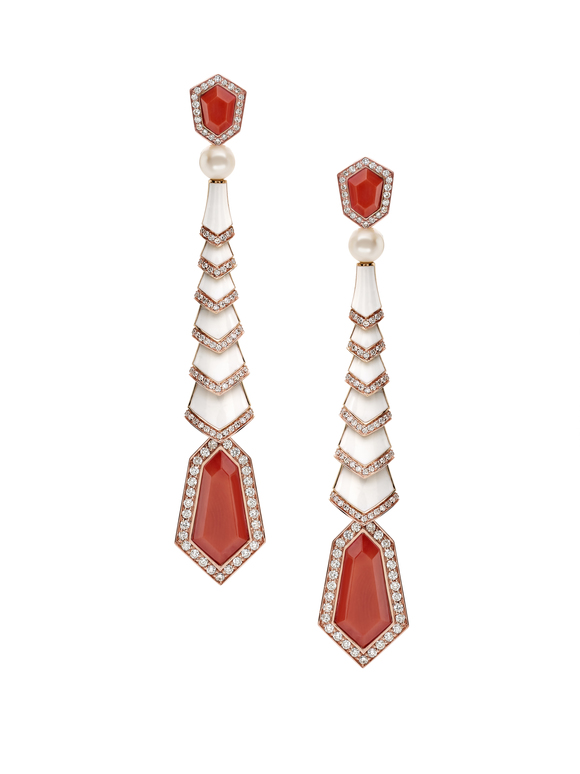Avakian pearl, coral and diamond earrings.